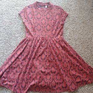 Xhilaration Red Brocade Midi Dress